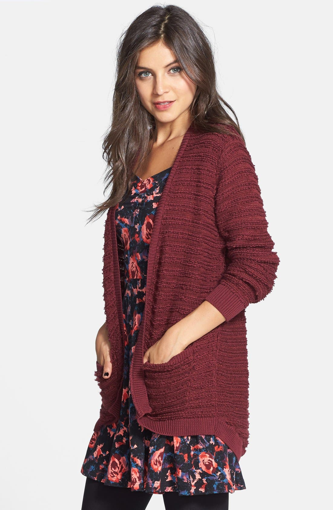 Main Image - BP. Stripe Knit Open Cardigan (Juniors) (Online Only)