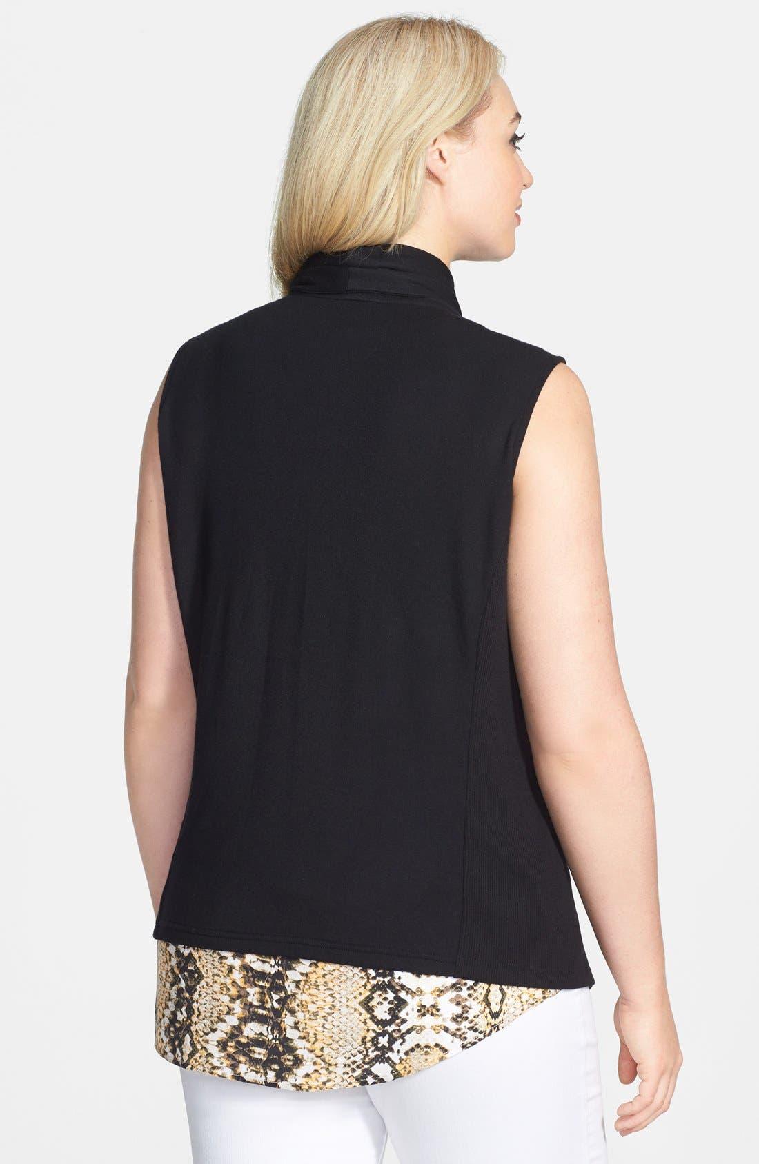 Alternate Image 2  - Halogen® Drape Front Knit Vest (Plus Size)