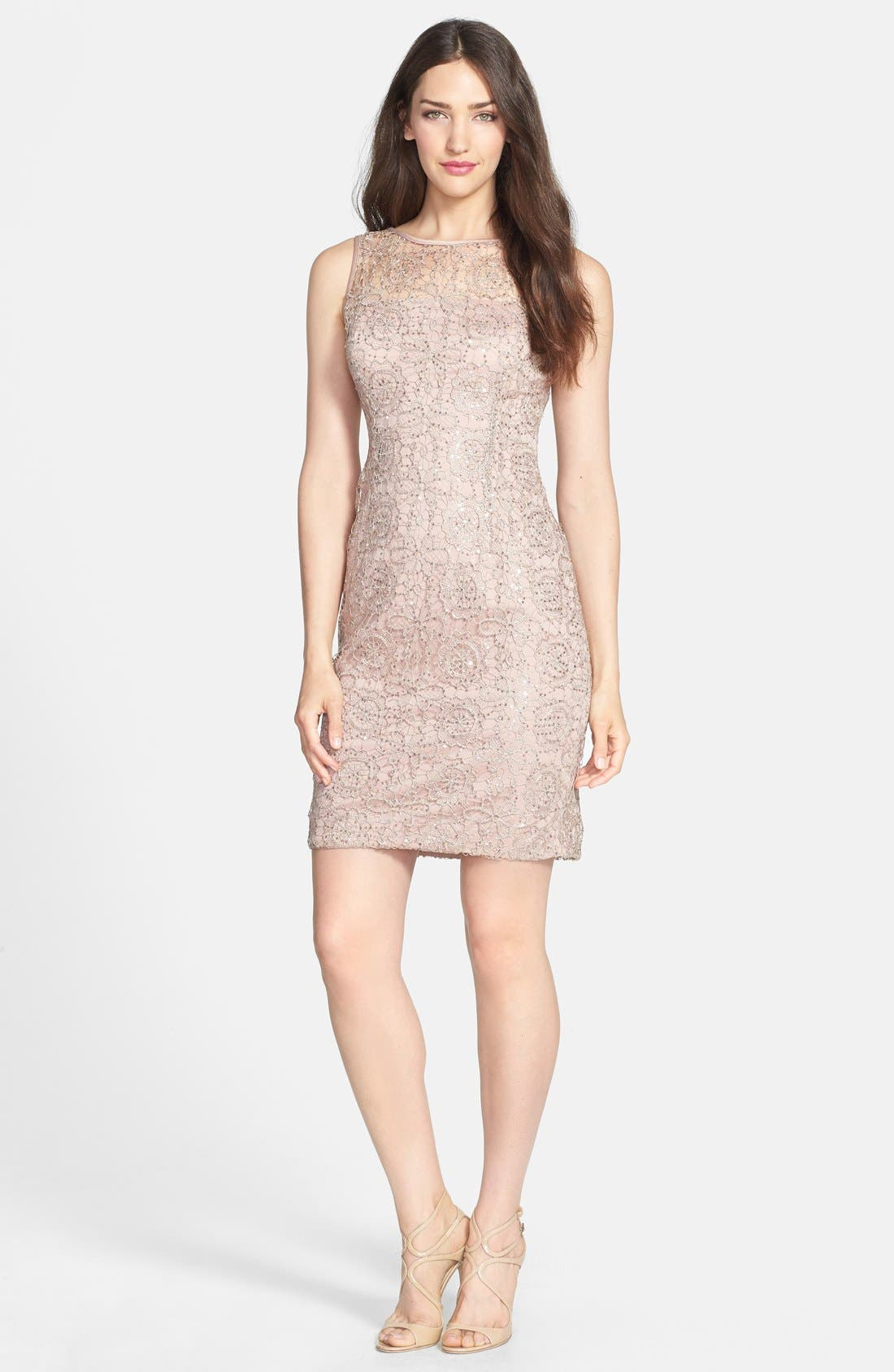 Alternate Image 3  - Adrianna Papell Sleeveless Sequin Metallic Lace Dress