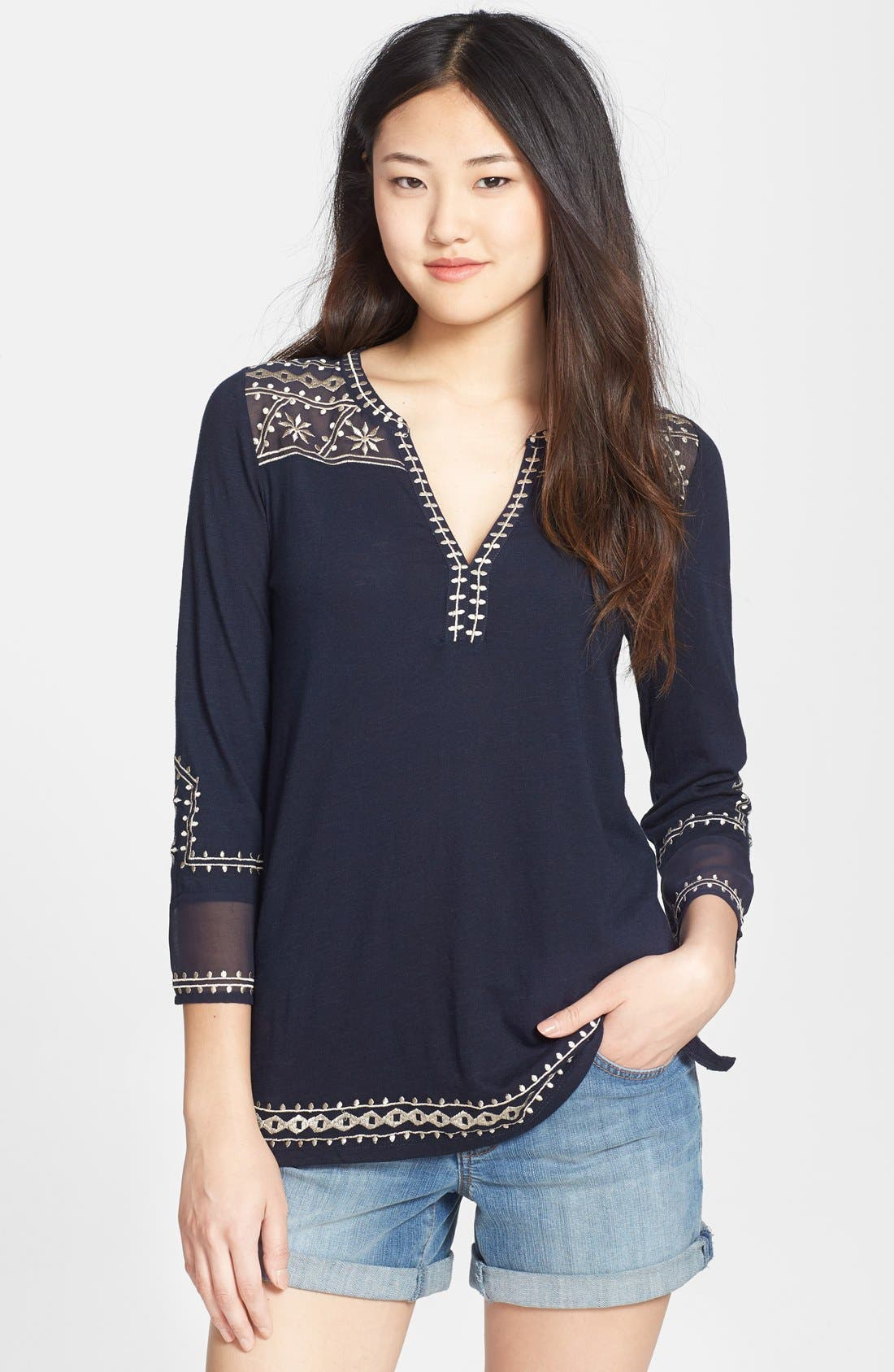 Alternate Image 1 Selected - Lucky Brand 'Kiana' Embroidered Tunic Top