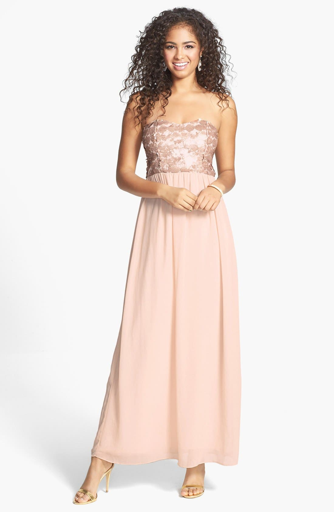 Main Image - a. drea Sequin Bodice Strapless Gown (Juniors)