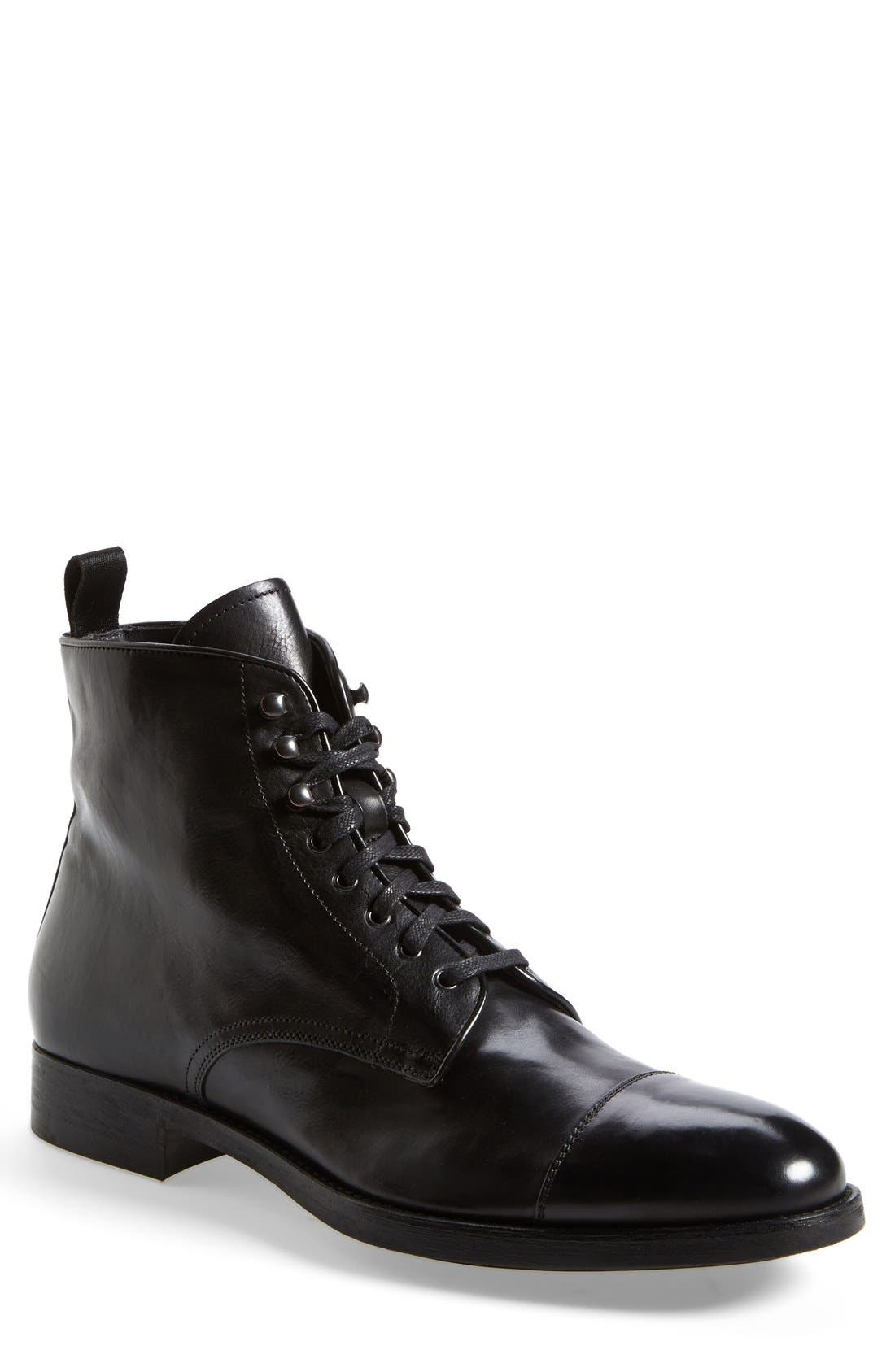 'Stallworth' Cap Toe Boot,                             Main thumbnail 1, color,                             Black Leather