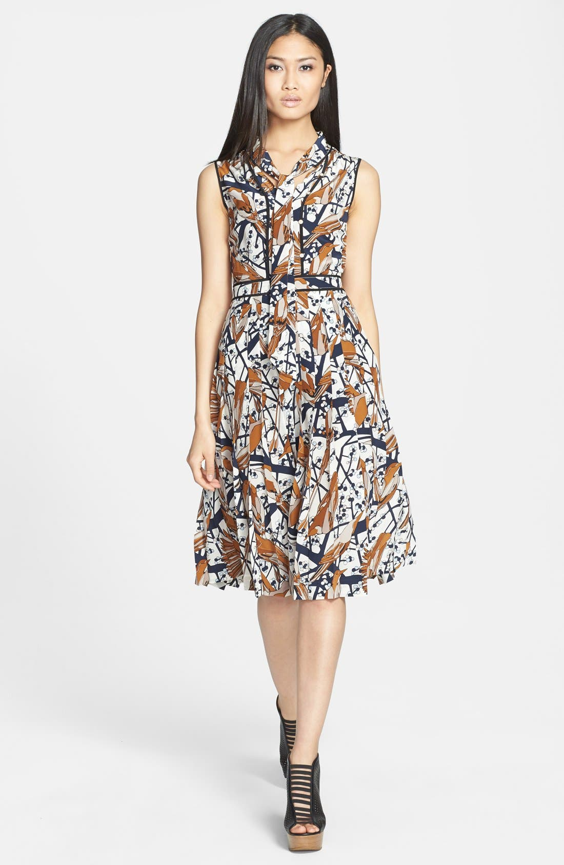 Main Image - MARC BY MARC JACOBS 'Nightingale' Print Silk Fit & Flare Dress