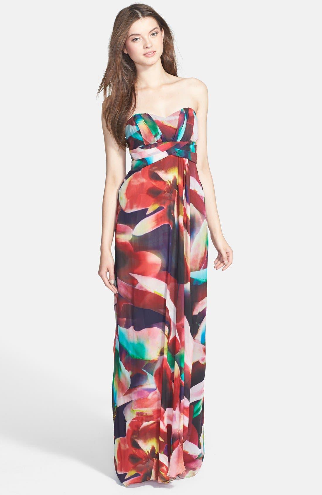 Main Image - Nicole Miller 'Petal Power' Print Empire Chiffon Gown