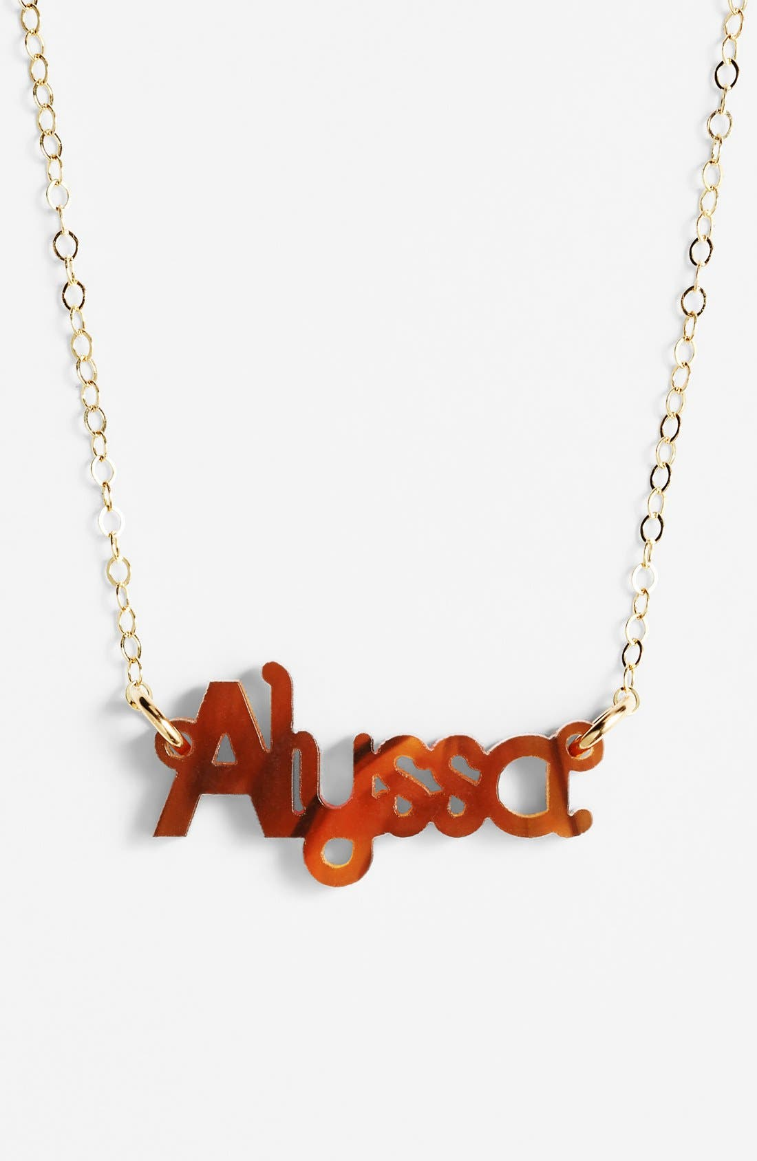 'Zebra Block Font' Personalized Nameplate Pendant Necklace,                             Main thumbnail 1, color,                             Tortoise/ Gold