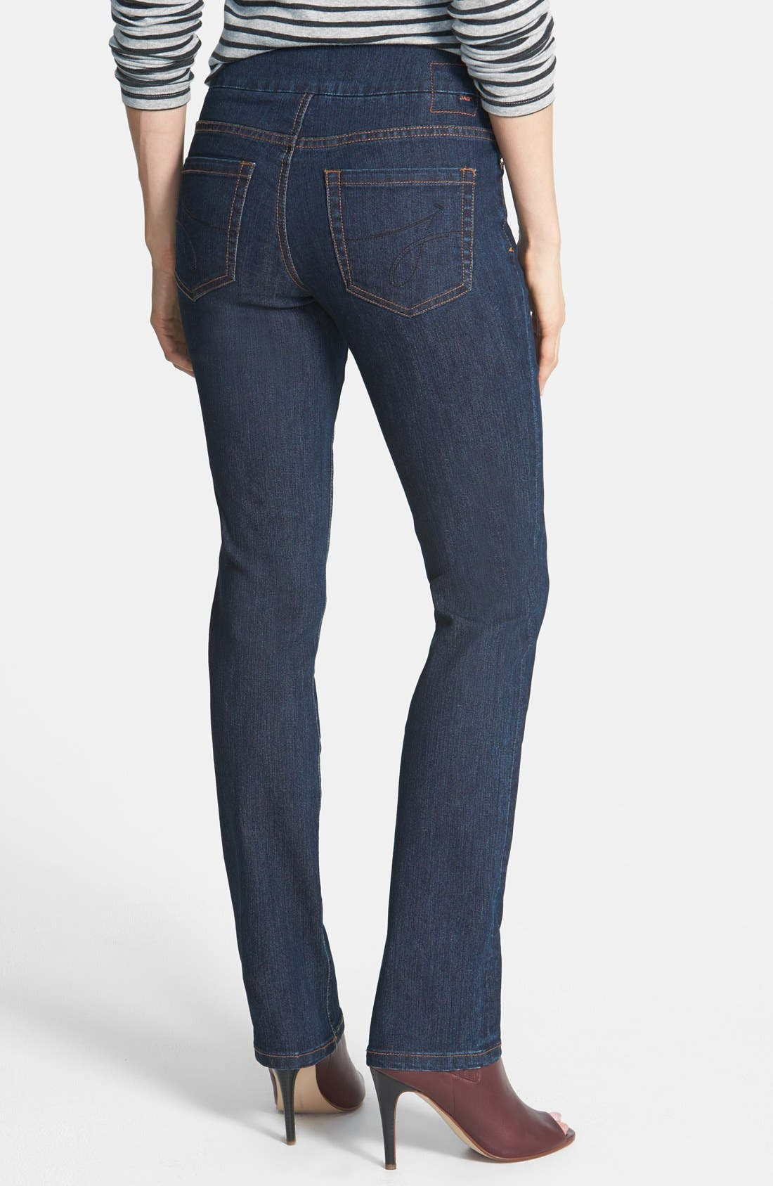 Alternate Image 2  - Jag Jeans 'Peri' Pull-On Straight Leg Jeans (Dark Shadow) (Online Only)