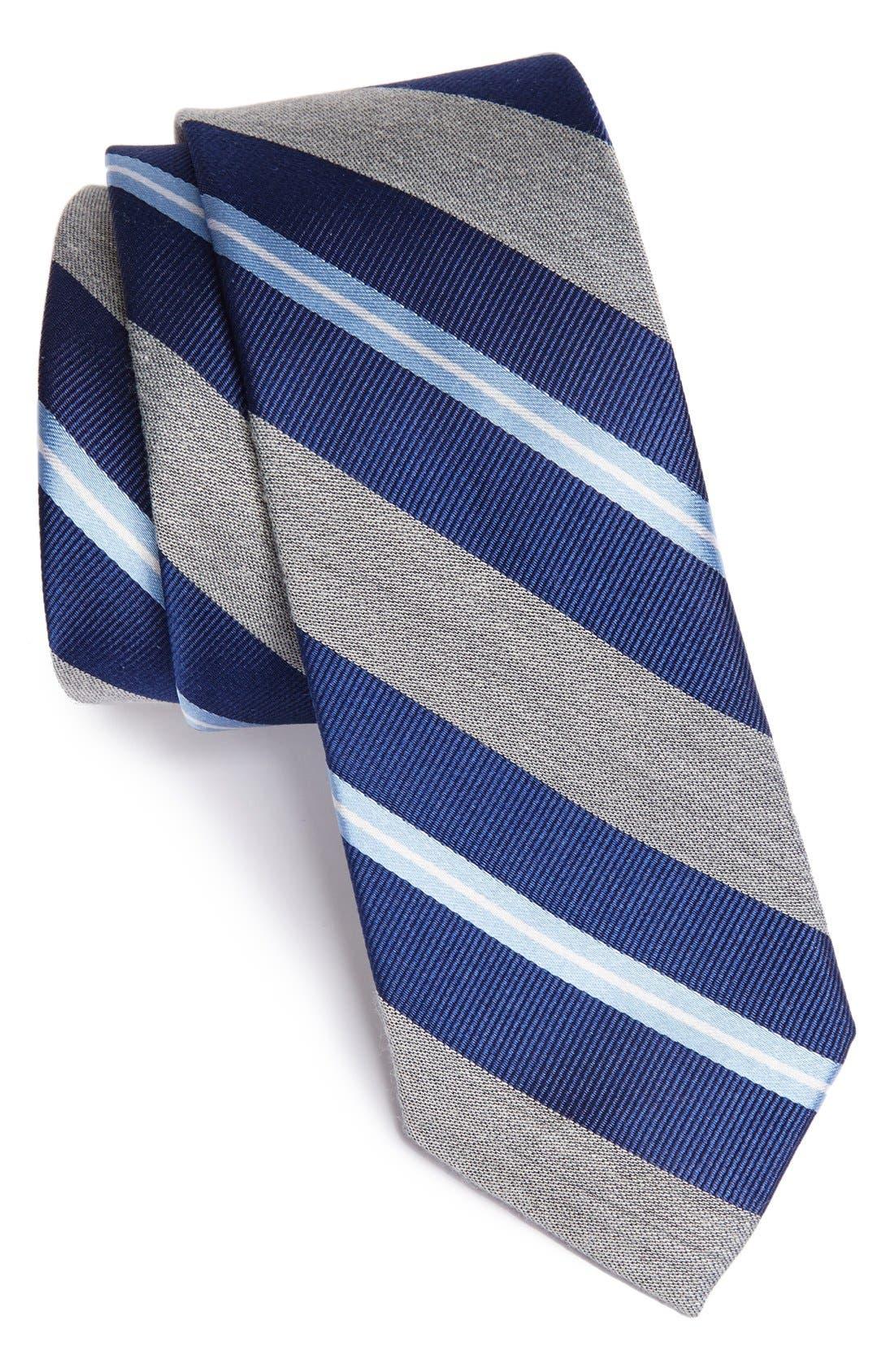 'Brady' Woven Silk Blend Tie,                             Main thumbnail 1, color,                             Navy