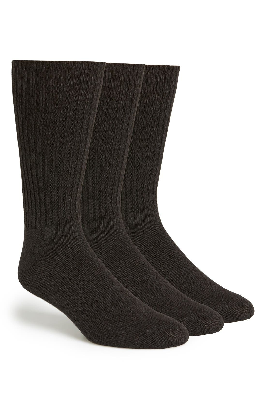 3-Pack Casual Socks,                         Main,                         color, Black