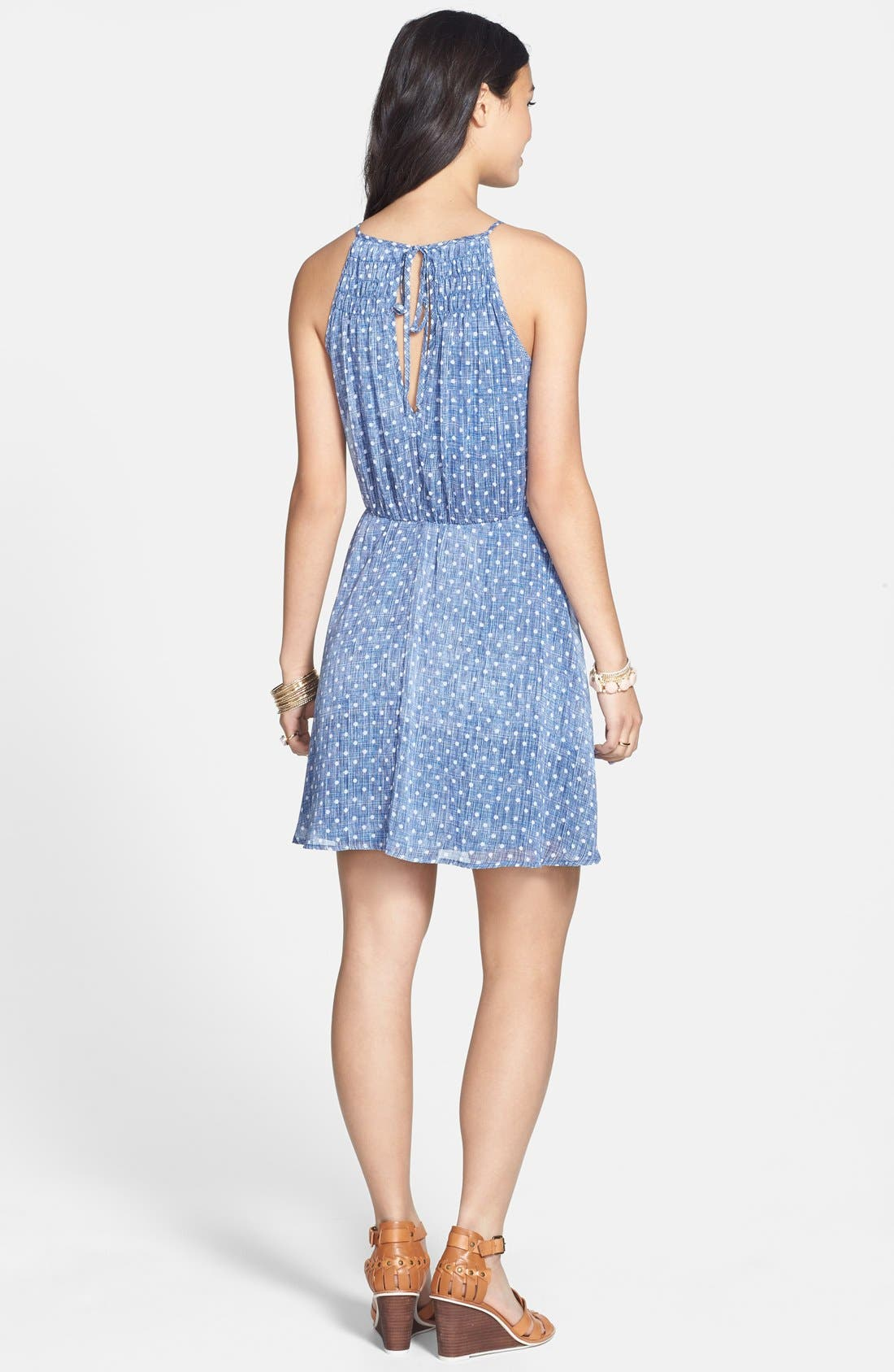 Alternate Image 2  - dee elle Polka Dot Smocked Skater Dress (Juniors)