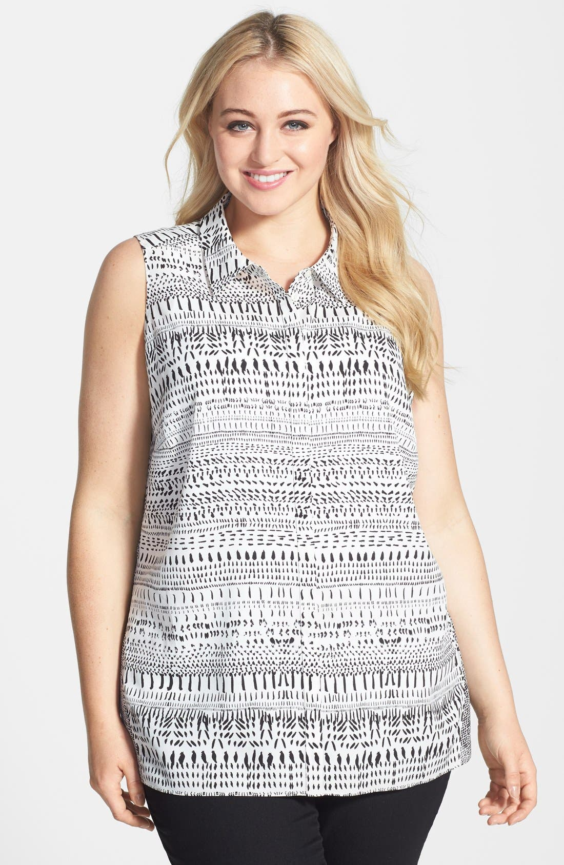 Main Image - DKNYC Mix Print Sleeveless Blouse (Plus Size)