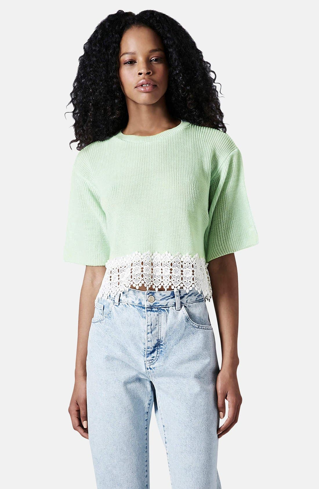 Main Image - Topshop Crocheted Hem Crop Sweater (Regular & Petite)