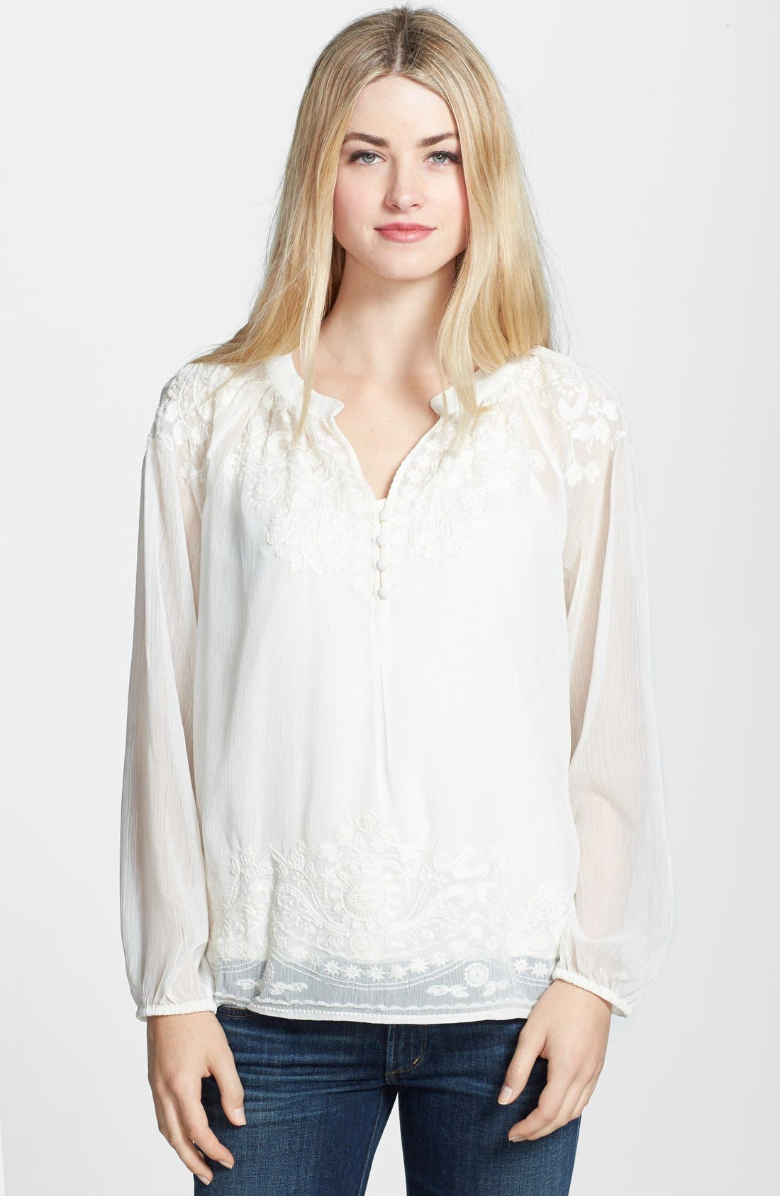 Main Image - ECI Embroidered Crinkled Chiffon Blouse