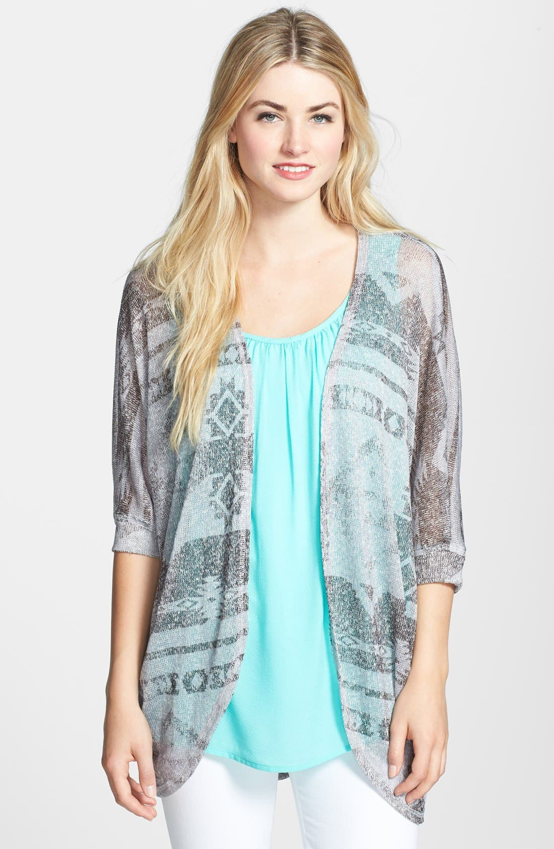 Alternate Image 1 Selected - Bobeau Print Dolman Cardigan