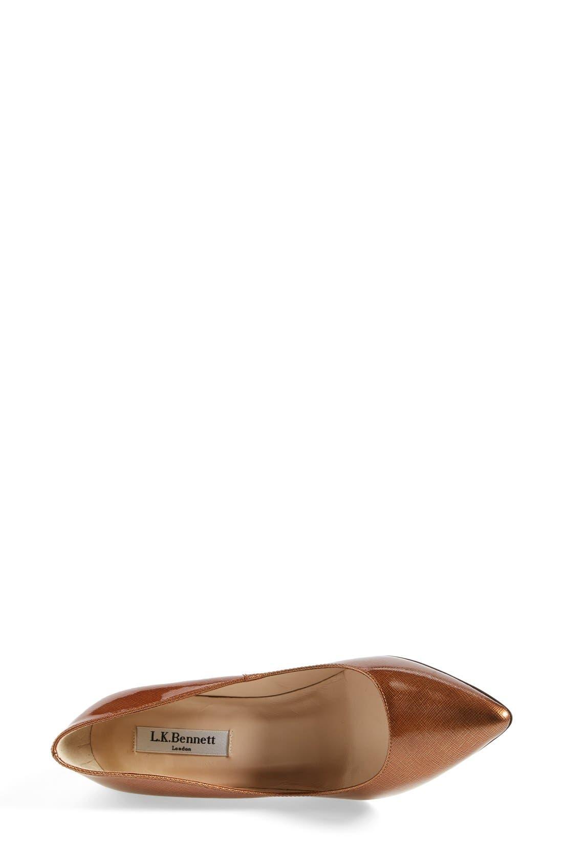 Alternate Image 3  - L.K. Bennett 'Floret' Metallic Saffiano Leather Pointy Toe Pump (Women)