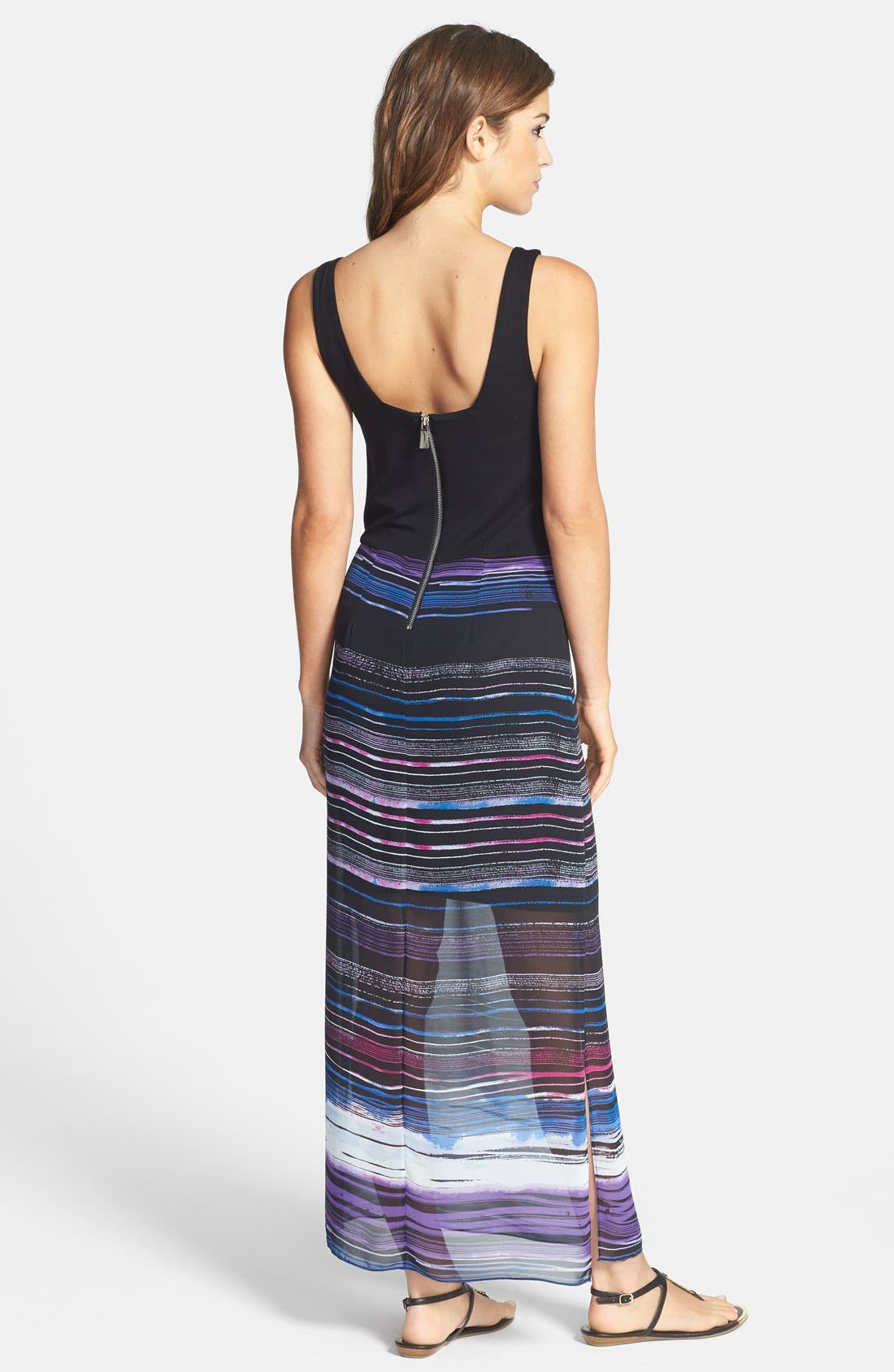 Alternate Image 2  - Vince Camuto 'Sweep Stripe' Chiffon Overlay Maxi Dress (Regular & Petite)