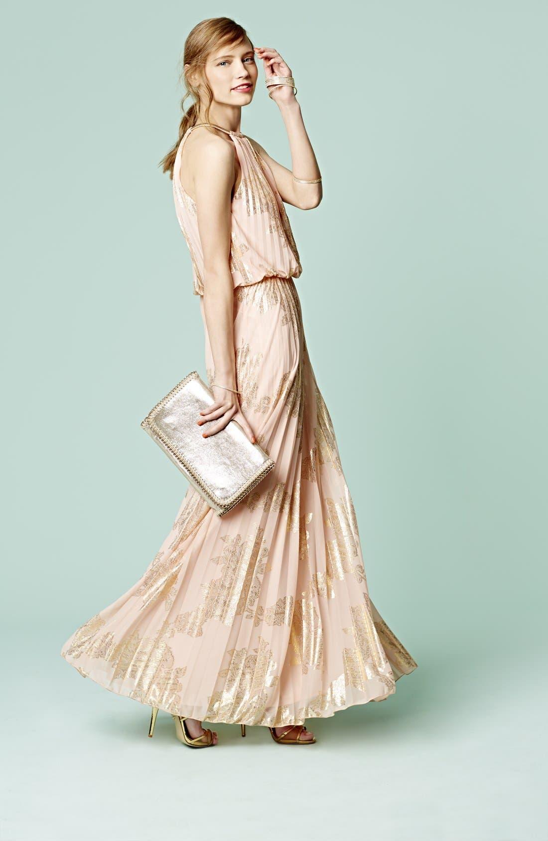 Alternate Image 4  - Xscape Foiled Pleat Blouson Dress