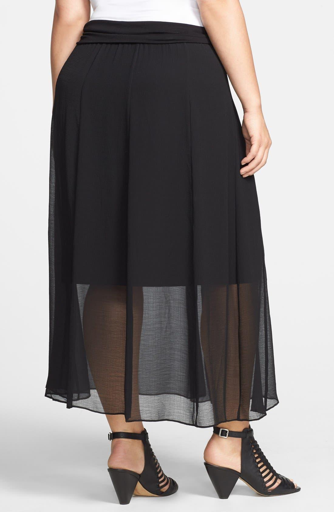 Alternate Image 2  - Vince Camuto Sheer Pleat Maxi Skirt (Plus Size)