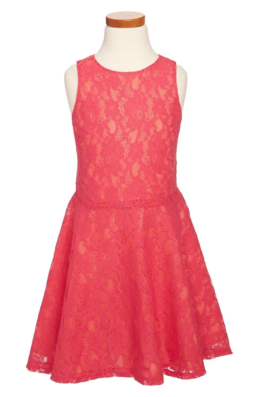 Alternate Image 1 Selected - Miss Behave 'Sofia' Lace Dress (Big Girls)