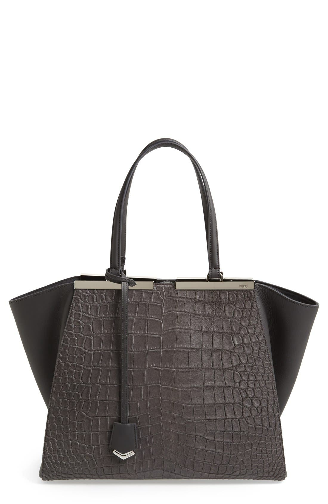 Alternate Image 1 Selected - Fendi '3Jours' Croc Embossed Leather Shopper