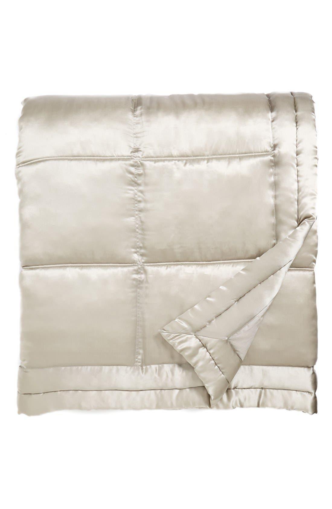 Donna Karan Collection 'Reflection' Silk Charmeuse Quilt,                             Main thumbnail 1, color,                             Silver