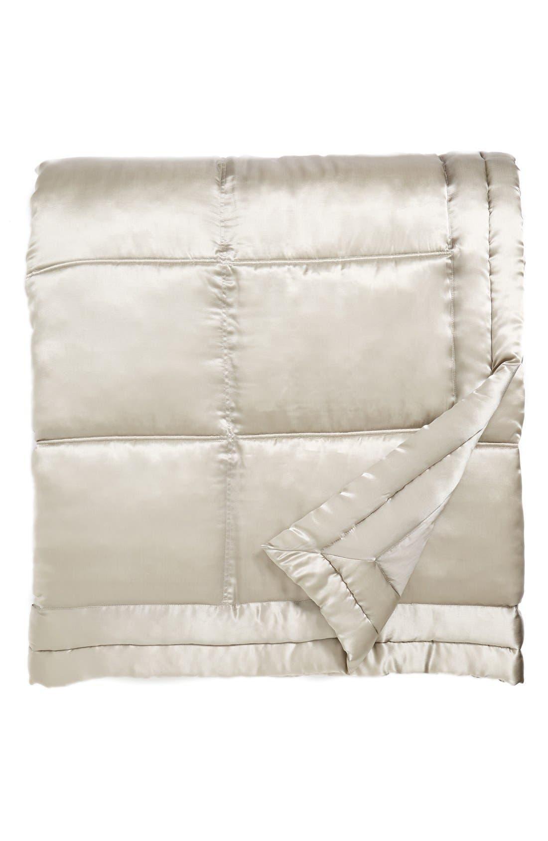Donna Karan Collection 'Reflection' Silk Charmeuse Quilt,                         Main,                         color, Silver