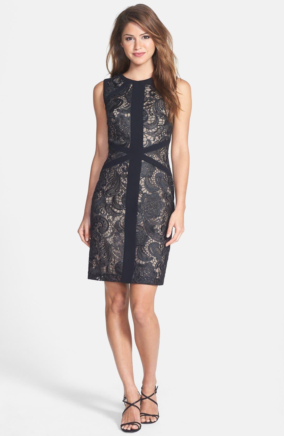 Alternate Image 3  - ML Monique Lhuillier Lace Sheath Dress