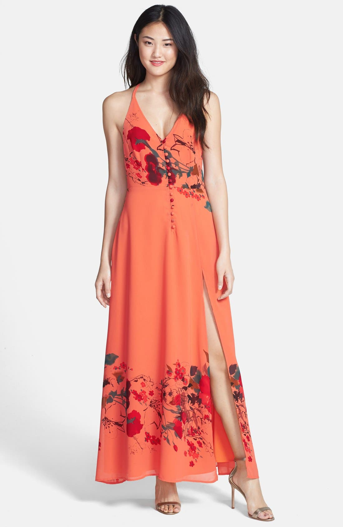 Main Image - Jarlo 'Adora' Crochet T-Back Print Chiffon Maxi Dress