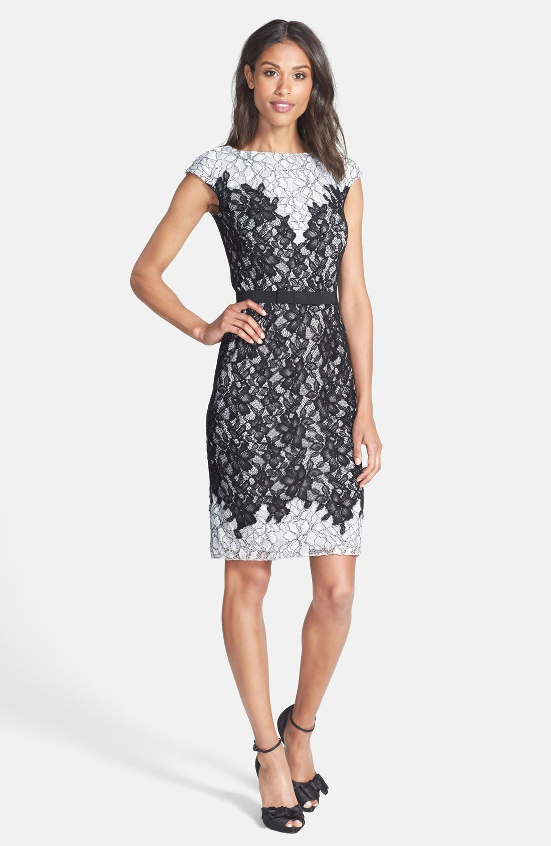 Alternate Image 3  - Tadashi Shoji Two-Tone Lace Sheath Dress