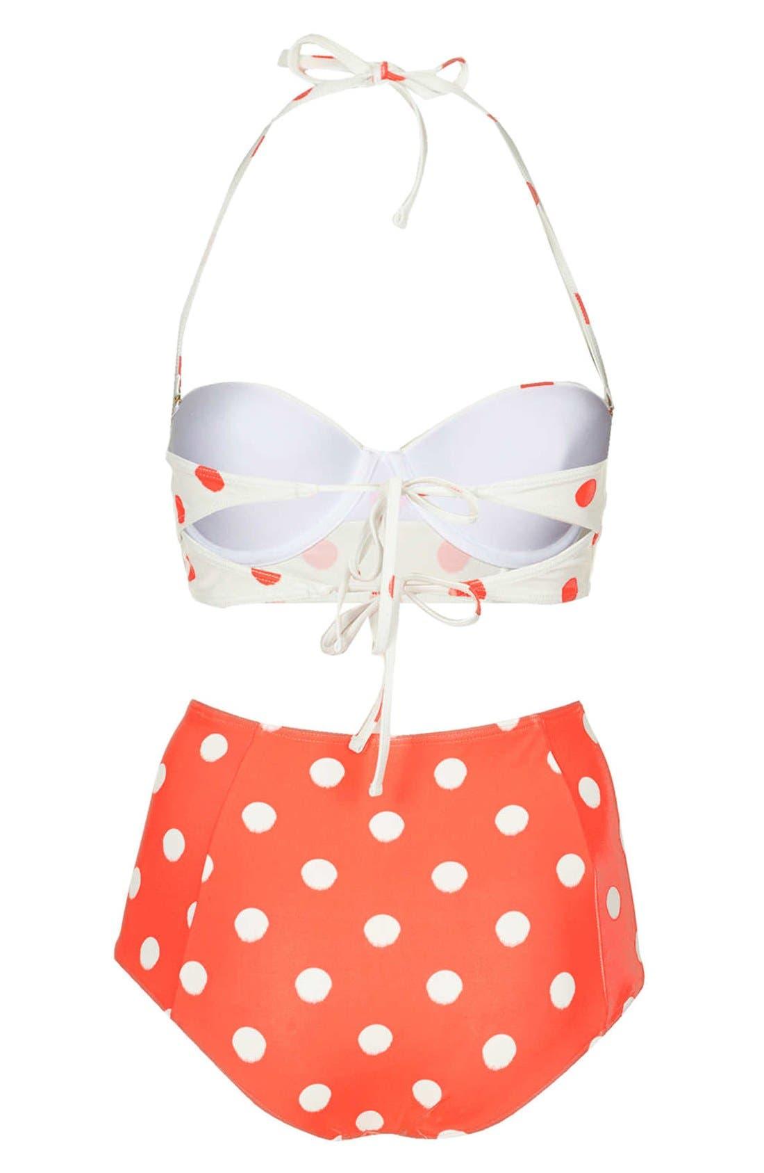Alternate Image 2  - Topshop Polka Dot High Rise Bikini