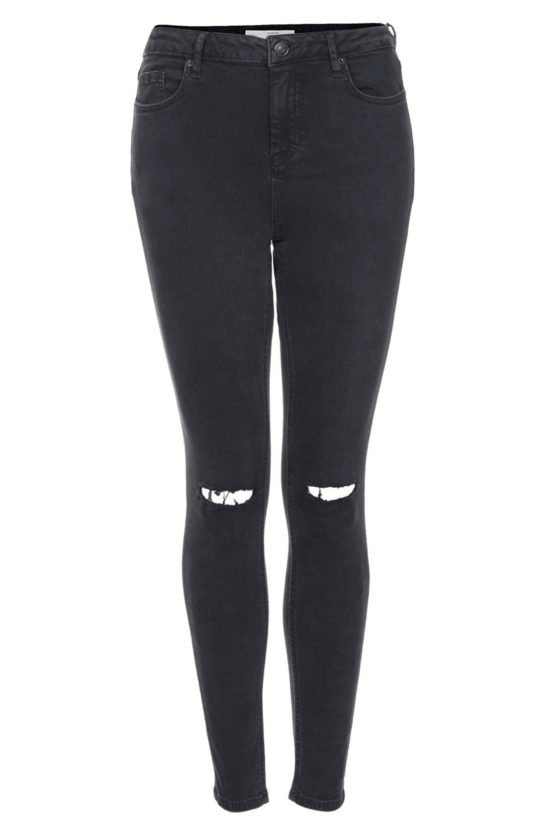 Alternate Image 3  - Topshop Moto 'Jamie' Ripped High Rise Ankle Skinny Jeans (Black) (Regular & Short)