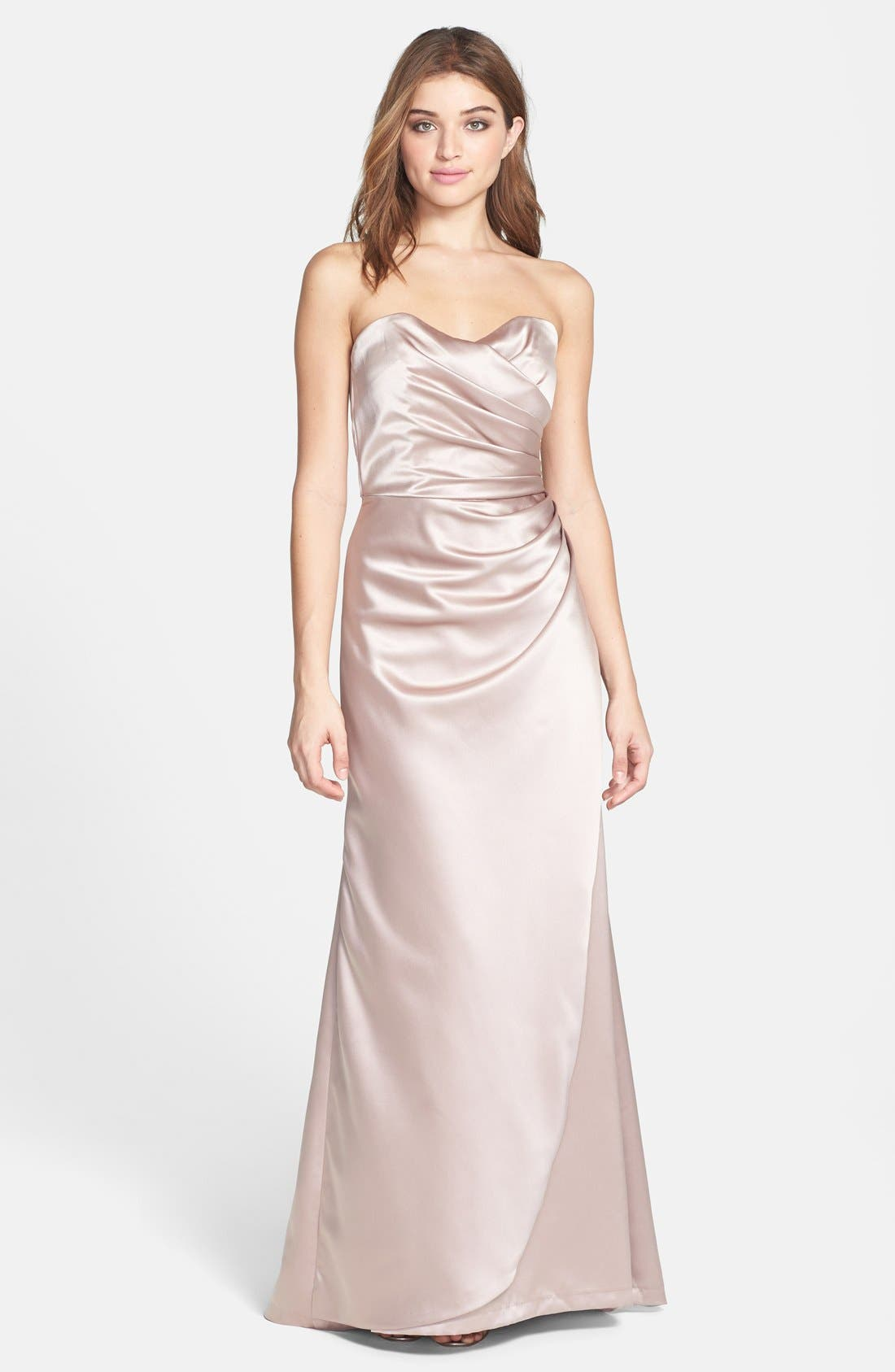 Alternate Image 1 Selected - Dessy Collection Strapless Matte Satin Trumpet Dress
