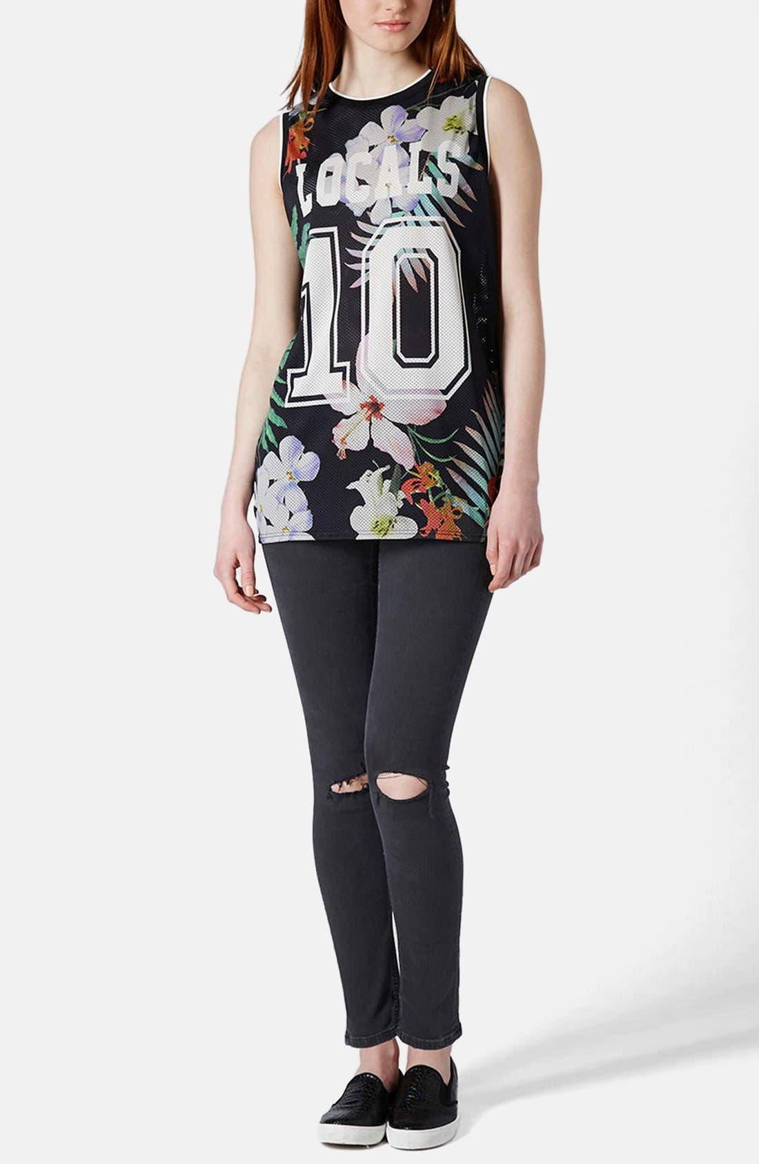 Alternate Image 5  - Topshop Moto 'Jamie' Ripped High Rise Ankle Skinny Jeans (Black) (Regular & Short)