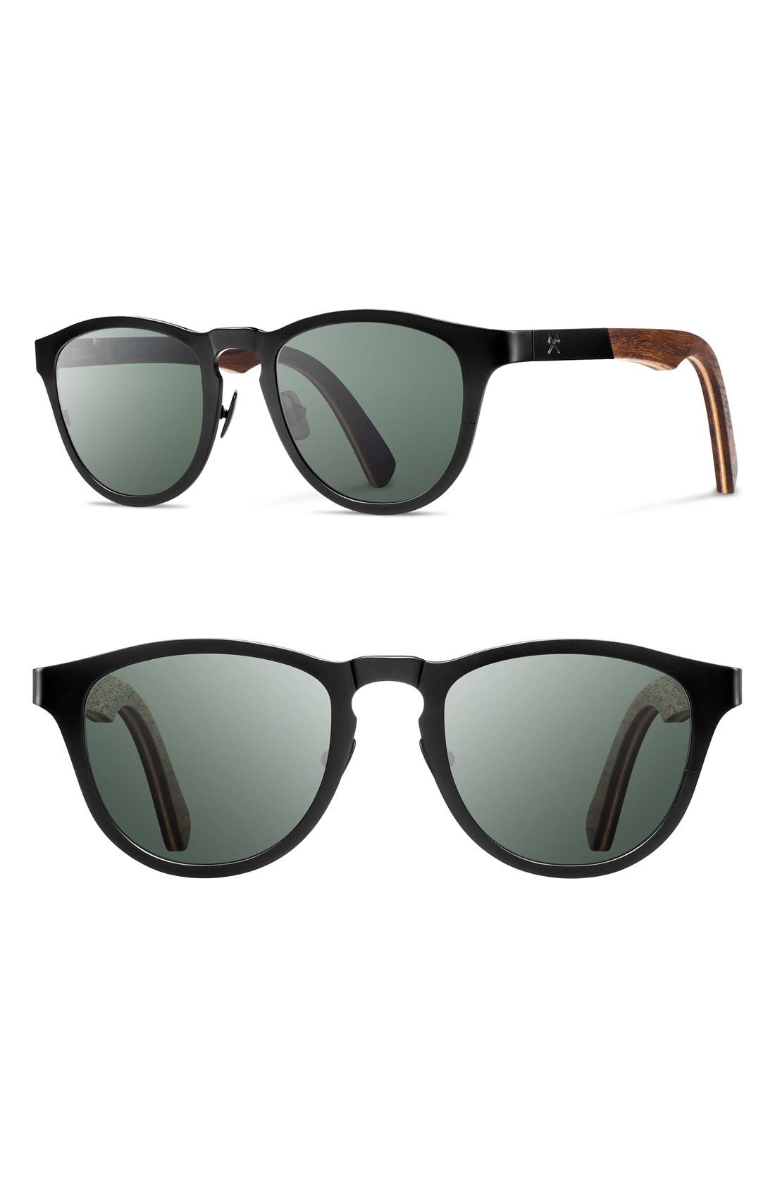SHWOOD Francis 49mm Polarized Titanium & Wood Sunglasses
