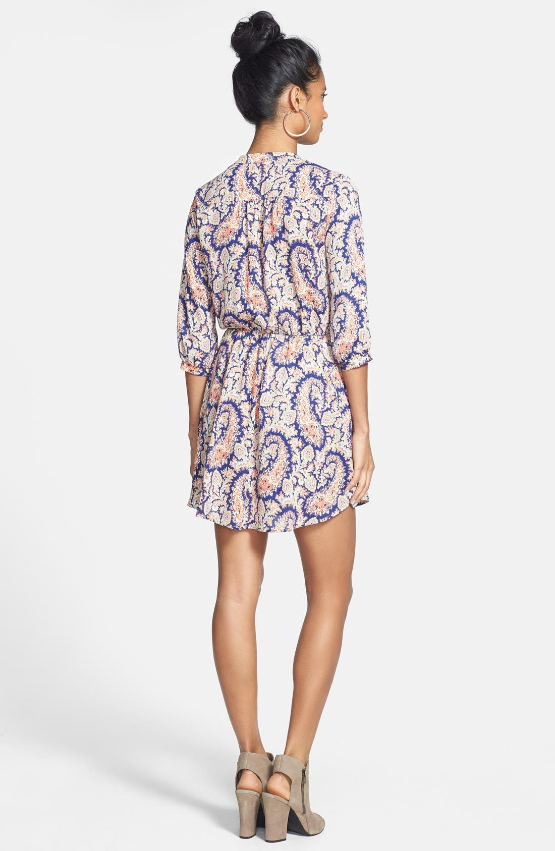 Alternate Image 2  - Lush 'Kendal' Paisley Print Surplice Faux Wrap Dress (Juniors)