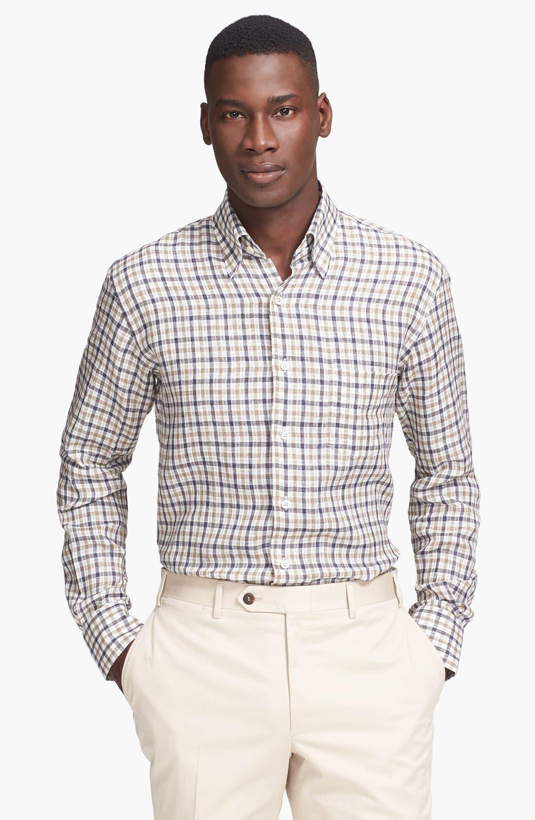 Main Image - Canali Regular Fit Linen & Cotton Italian Sport Shirt