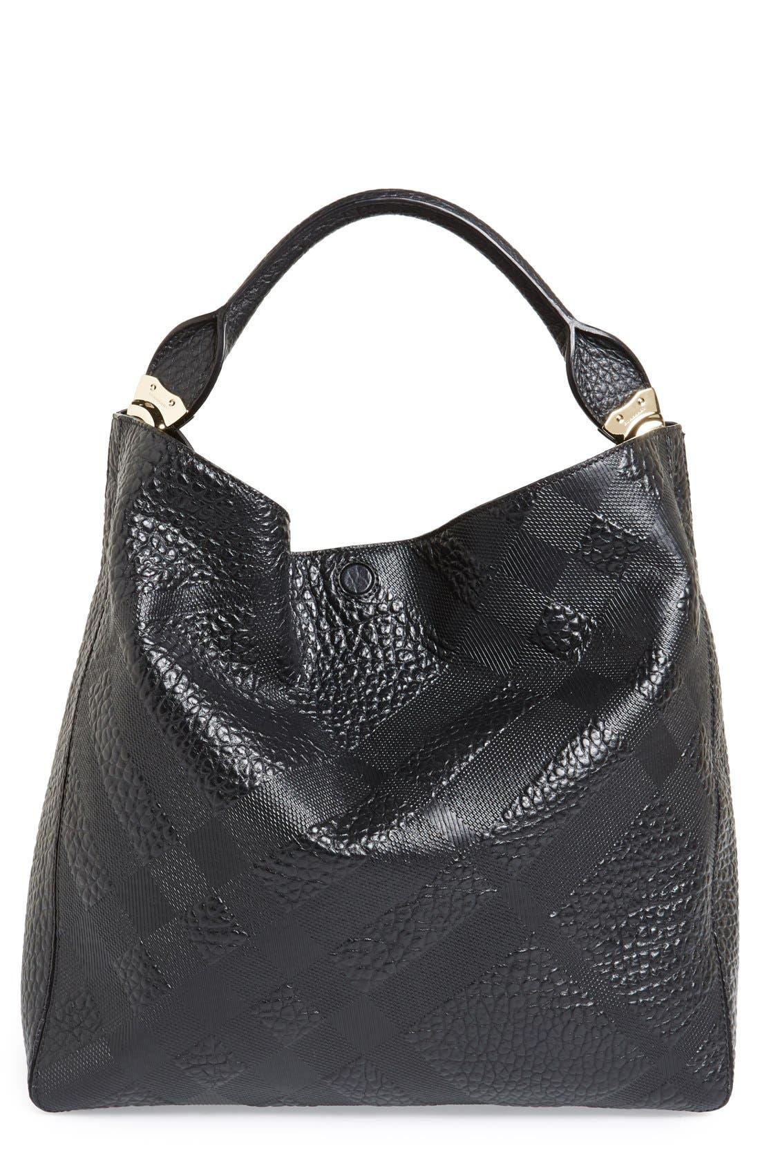 Main Image - Burberry 'Medium Lindburn' Check Embossed Leather Hobo