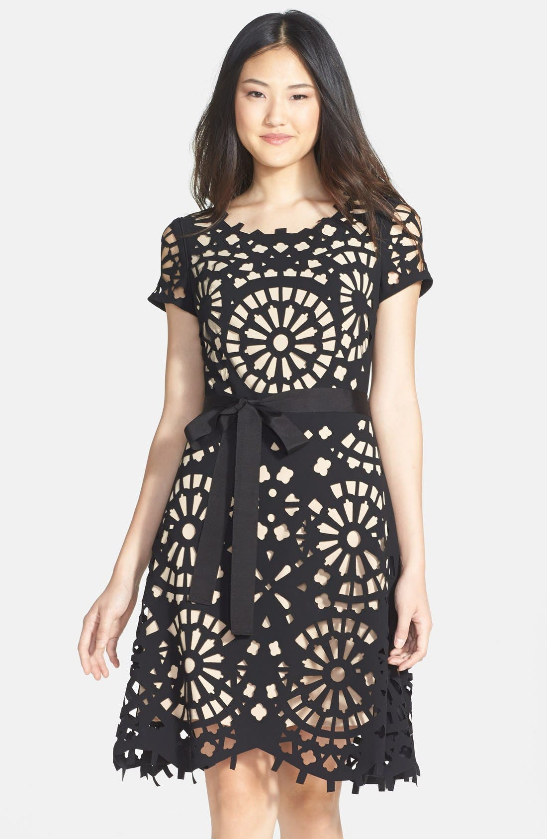 Alternate Image 1 Selected - Nue by Shani Laser Cut Crepe Fit & Flare Dress