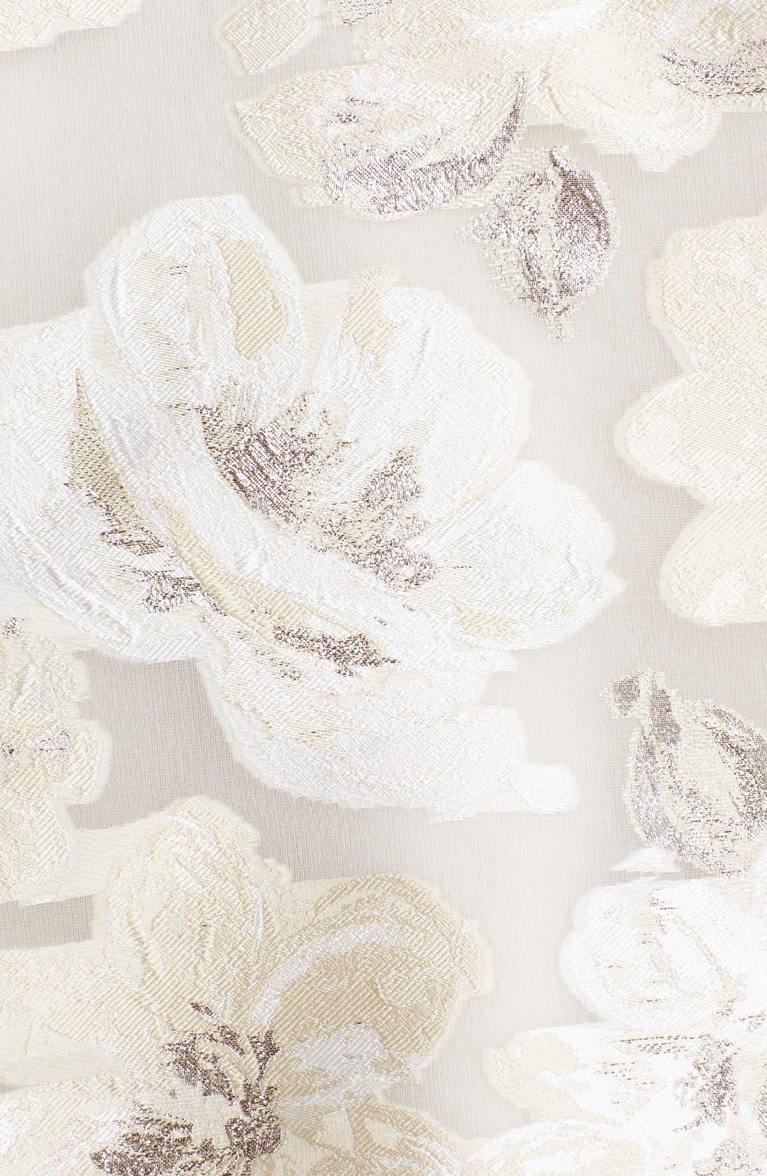 Alternate Image 3  - Lela Rose Gold Leaf Fil Coupe Floral Dress