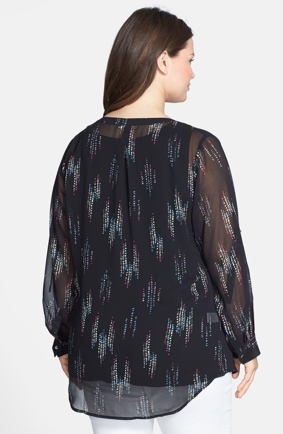 Alternate Image 2  - Daniel Rainn Print Button Front Georgette Tunic (Plus Size)