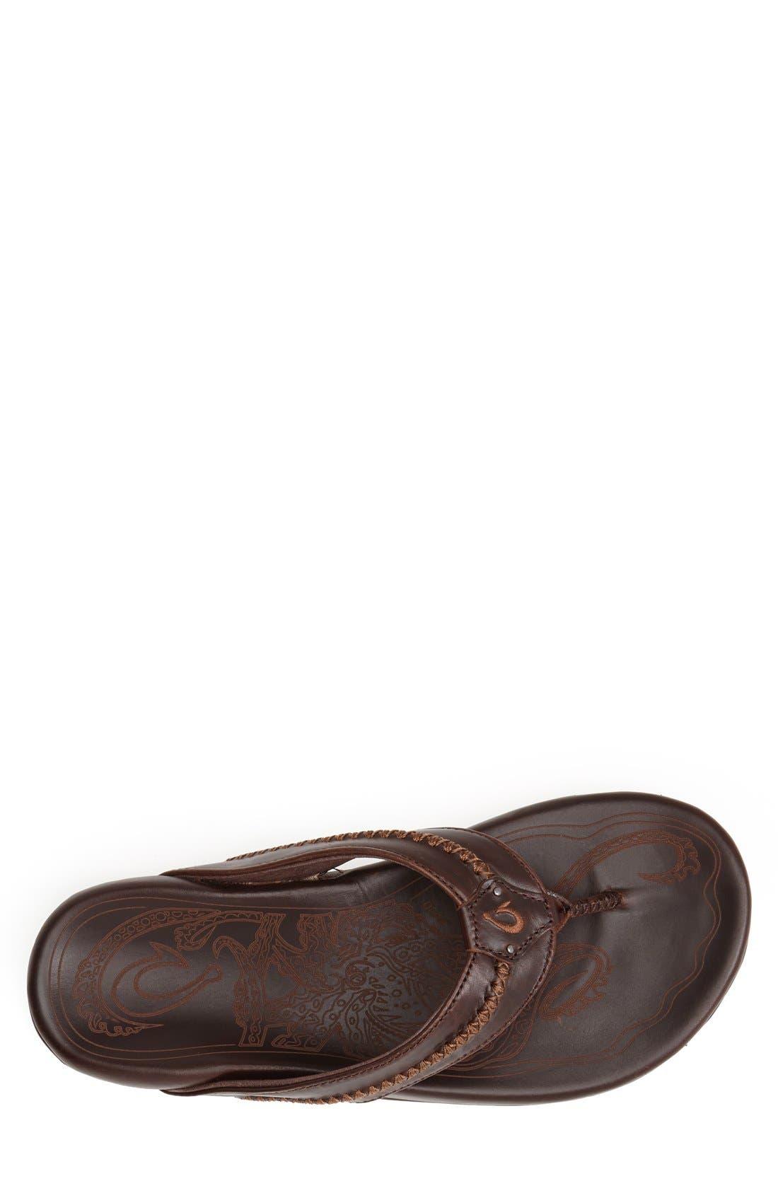 Mea Ola Flip Flop,                             Alternate thumbnail 3, color,                             Dark Java/ Dark Java Leather