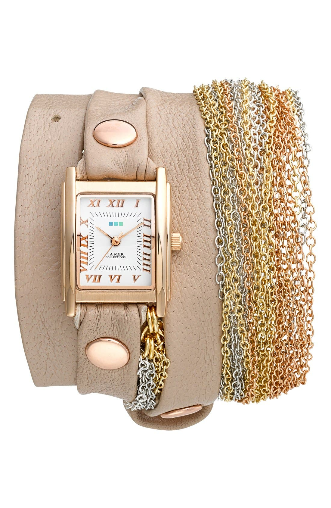 Main Image - La Mer Collections 'Rainbow' Leather & Chain Wrap Bracelet Watch, 23mm x 30mm