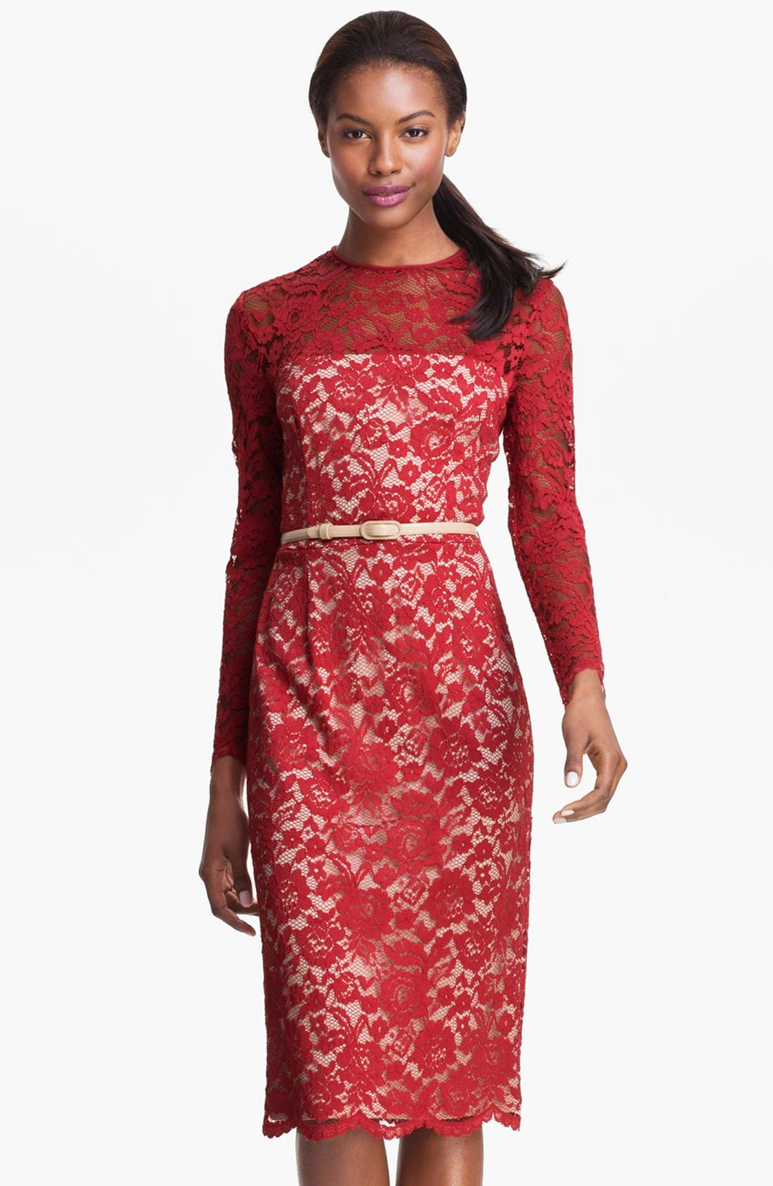 Alternate Image 1 Selected - Maggy London Embroidered Lace Overlay Midi Dress (Regular & Petite)