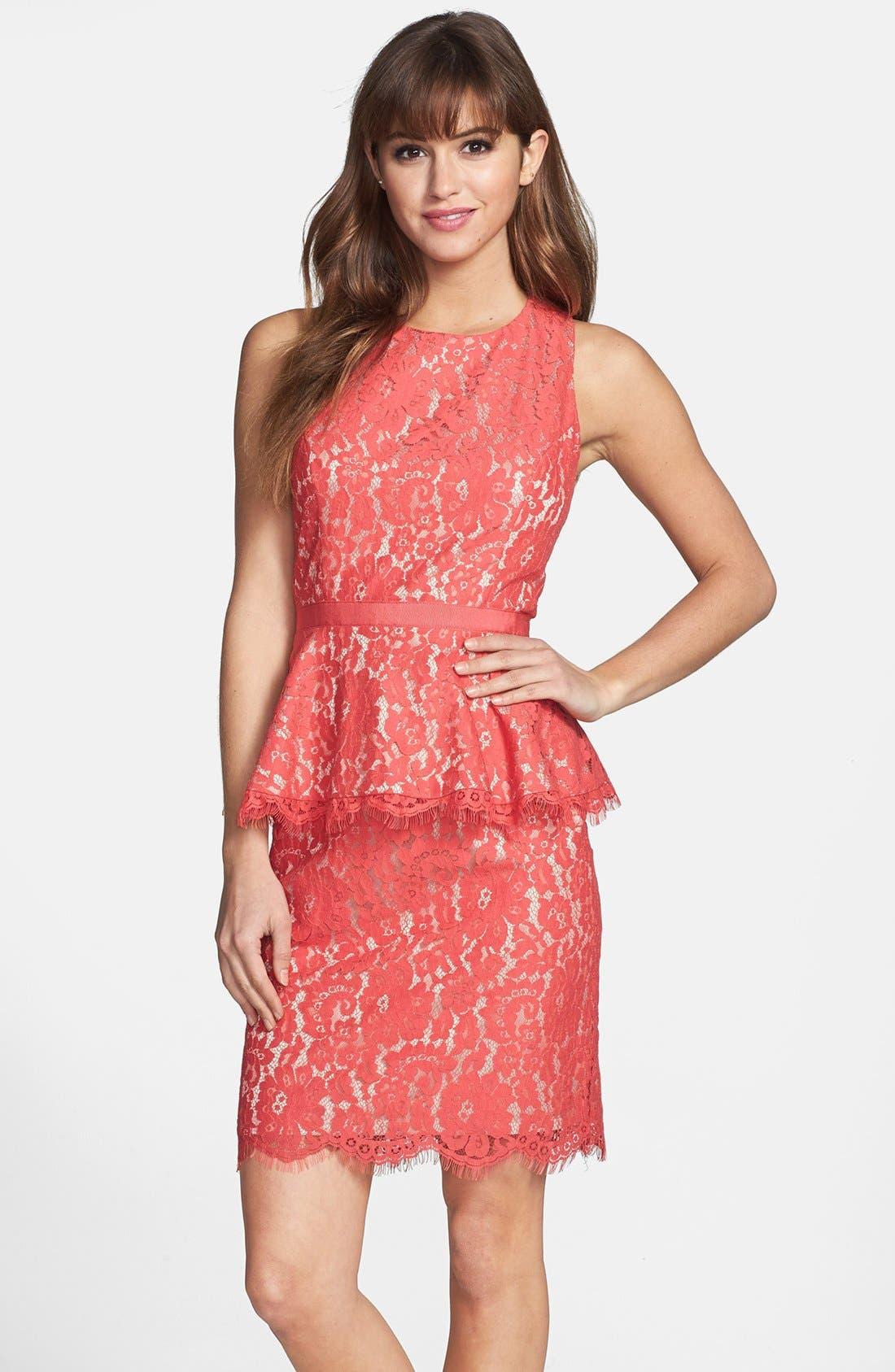 Main Image - Eliza J Lace Peplum Sheath Dress (Regular & Petite)