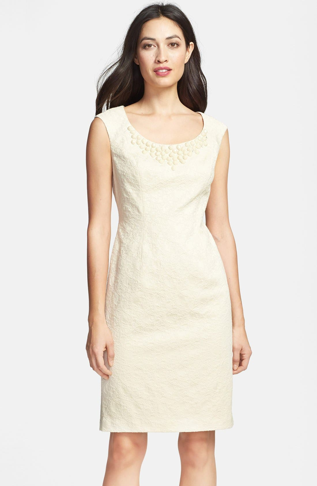 Alternate Image 1 Selected - Adrianna Papell Embellished Jacquard Sheath Dress
