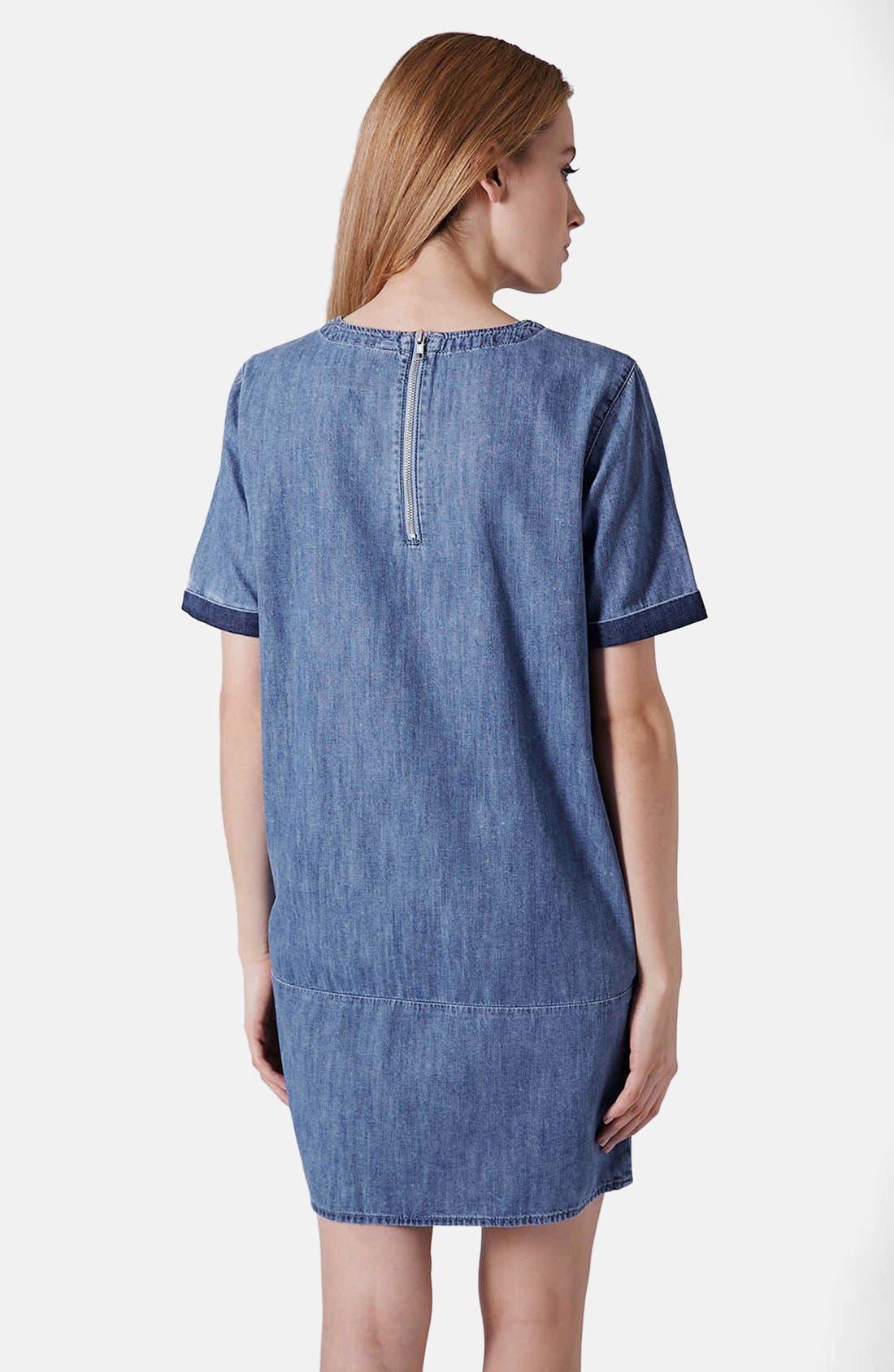 Alternate Image 2  - Topshop Moto Colorblock Denim T-Shirt Dress