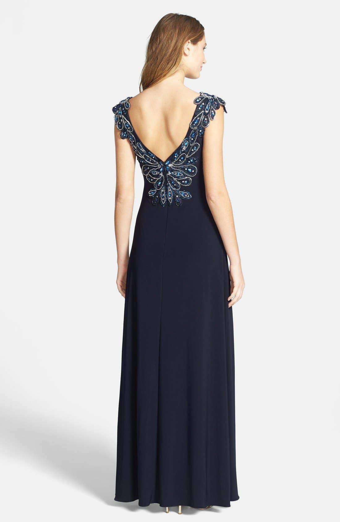 Alternate Image 2  - Xscape Embellished Shoulder Gown