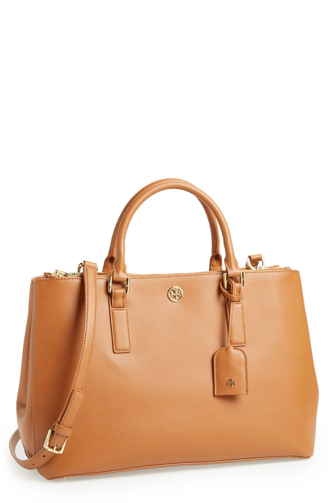 'Robinson' Double Zip Tote,                             Main thumbnail 1, color,                             Luggage