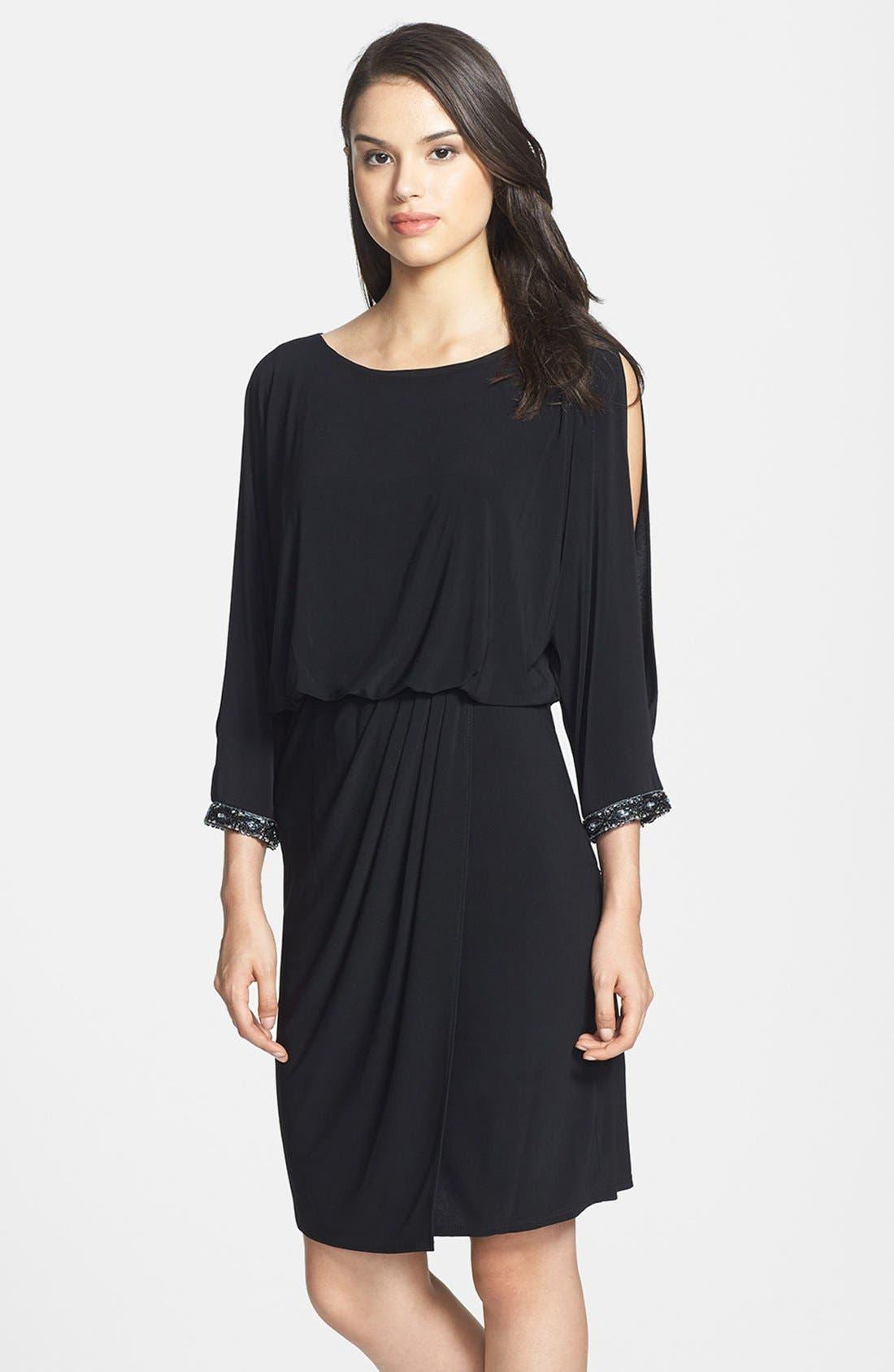 Main Image - Marina Embellished Cold Shoulder Jersey Blouson Dress