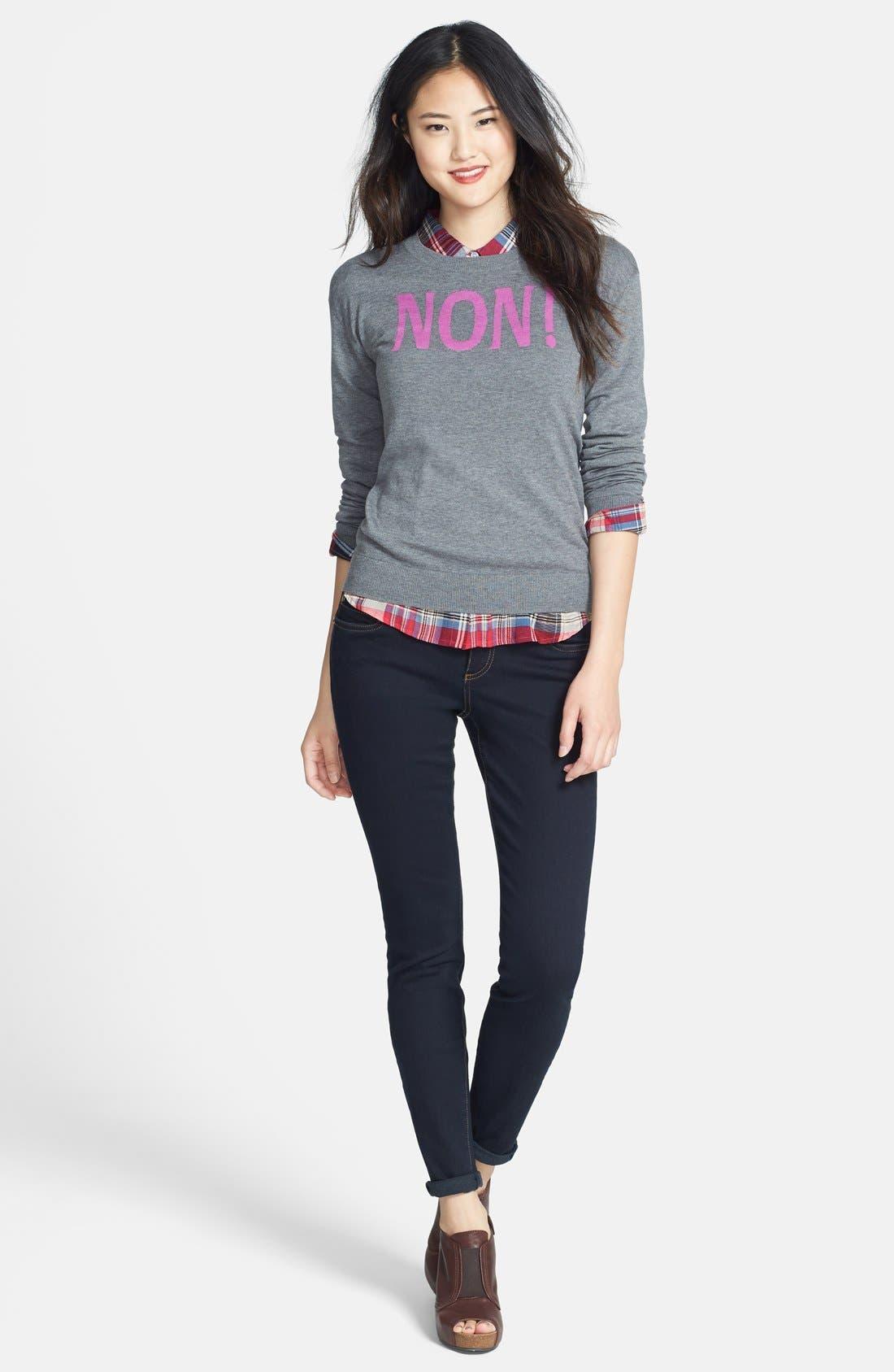 Alternate Image 4  - Halogen® 'Non' Zip Back Crewneck Sweater (Regular & Petite)