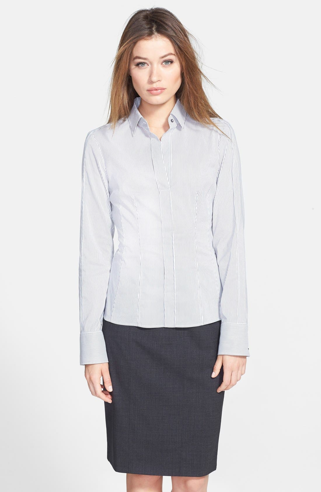 Alternate Image 1 Selected - BOSS 'Bashina' Fitted Cotton Blend Pinstripe V-Neck Blouse